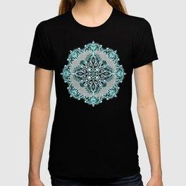 Teal and Aqua Lace Mandala on Grey T-shirt