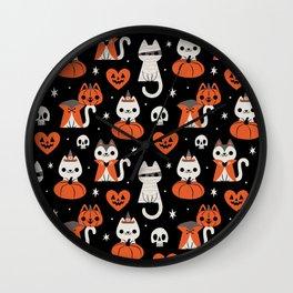 Halloween Kitties (Black) Wall Clock