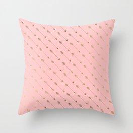 Bohemian elegant faux gold coral modern arrow pattern Throw Pillow