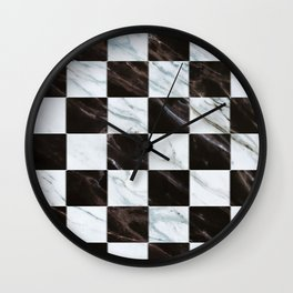 Zig zag checkered pattern with marbling Wall Clock