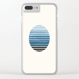 Green Blue Mid Century Modern Minimalist Scandinavian Colorful Stripes Geometric Pattern Round Circl Clear iPhone Case