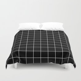 Grid Simple Line Black Minimalist Duvet Cover