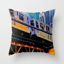 Chicago 'L' in multi color: Chicago photography - Chicago Elevated train Throw Pillow