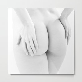 1727-JAL B&W Nude Woman Rear View Hands on Bottom Classic Female Form Beautiful Art Nude Chris Maher Metal Print