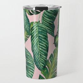 Jungle Leaves, Banana, Monstera II Pink #society6 Travel Mug