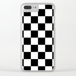 Checkered Pattern: Black & White Clear iPhone Case