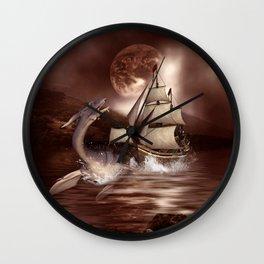 Awesome seadragon with ship Wall Clock