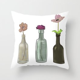 flowers in glass bottles . Pastel colors . ( https://society6.com/totalflora/collection ) Throw Pillow