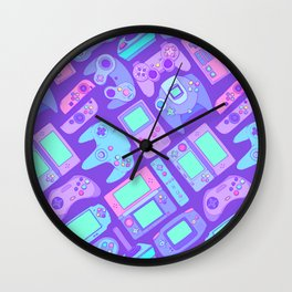 Video Game Controllers in Cool Colors Wall Clock