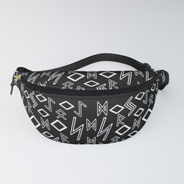 Runic pattern black and white Fanny Pack