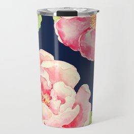 Two Pink Peonies on Navy Travel Mug