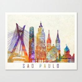 Sao Paulo landmarks watercolor poster Canvas Print