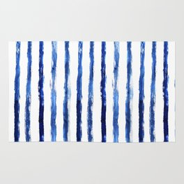 Blue painted stripes Rug