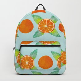 Watercolor Oranges Pattern in Blue Backpack