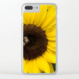 Sunflower with bees Clear iPhone Case