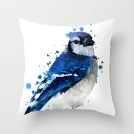 Watercolor blue jay bird Throw Pillow