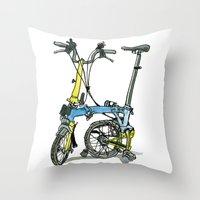 brompton Throw Pillows featuring My brompton standing up by Swasky