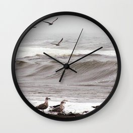 Seagulls and the Surf Wall Clock