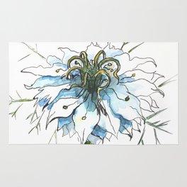 Nigella watercolor beautiful flower, nature Rug