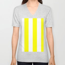 Wide Vertical Stripes - White and Yellow Unisex V-Neck