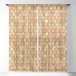 Golden Honeycomb Pattern Sheer Curtain