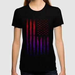 Red & blue gradient USA flag T-shirt
