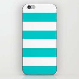 Wide Horizontal Stripes - White and Cyan iPhone Skin