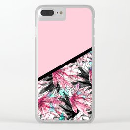 Blush Pink and Teal Abstract Tropical Leaves Clear iPhone Case