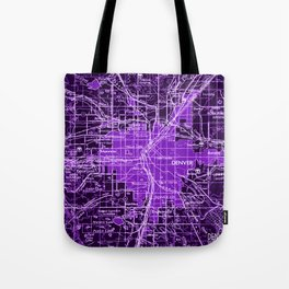 Denver Colorado map, year 1958, purple filter Tote Bag