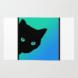 Black Cat Blue Green Tshirt Rug
