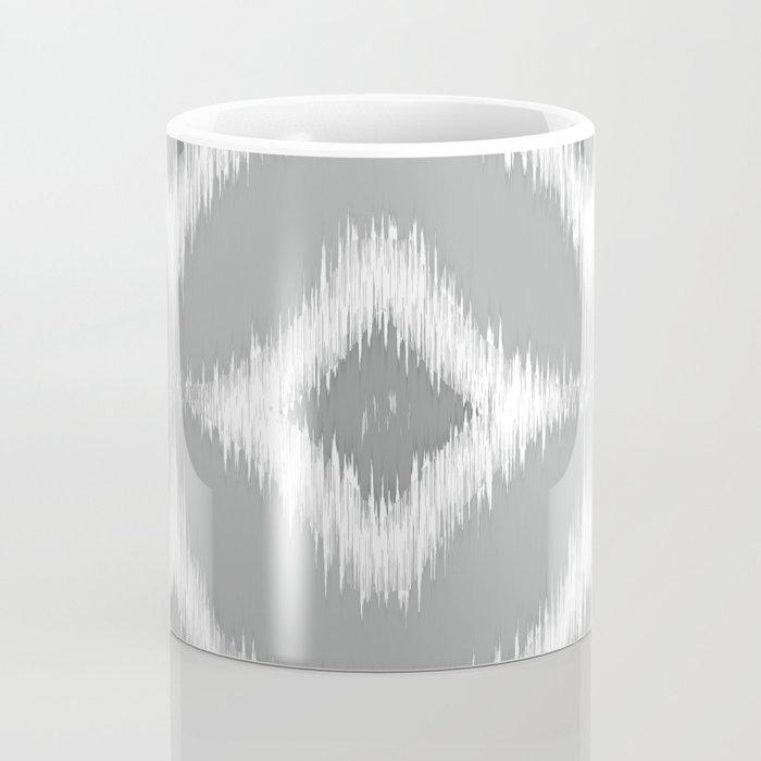 Elegant White Gray Retro Circles Squares Ikat Pattern Coffee Mug