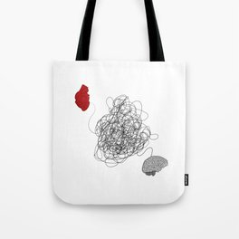 Heart and Mind tug-of-war Tote Bag