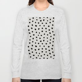 Modern Polka Dots Black on Light Gray Long Sleeve T-shirt