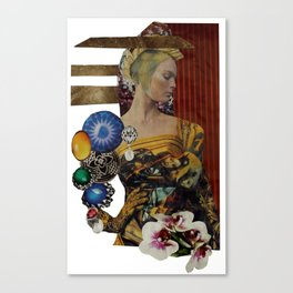 Jewelled Woman Collage Canvas Print