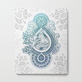 Paisley Capricornus | Turquoise Blue Ombré Metal Print