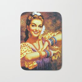 Jesus Helguera Painting of a Mexican Calendar Girl with Bangles Bath Mat