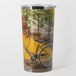Bicycle Parked at Wall, Lucca, Italy Travel Mug