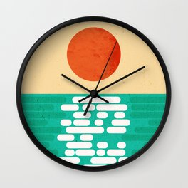 Sun over the sea Wall Clock