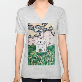 Cameo the Dog on a Hill Unisex V-Neck