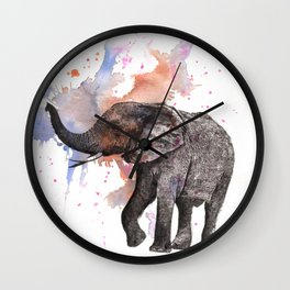 Dancing Elephant Painting Wall Clock