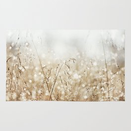 Dewdrop Nature Photography, Neutral Dew Drop, Gold White Brown Beige, Cream Water Drops Rug