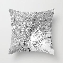 Tokyo White Map Throw Pillow