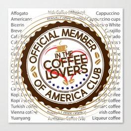 Coffee Lovers of America Club by Jeronimo Rubio 2016 Canvas Print