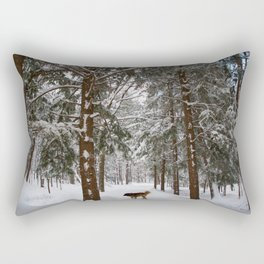 Dog exploring a snowy forest Rectangular Pillow