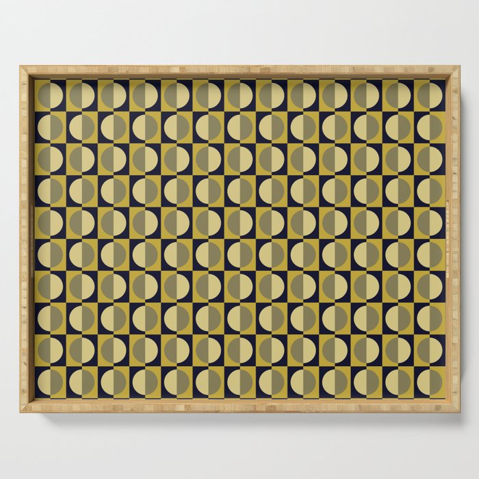 Geometric pattern with half-circles on squares in black, yellow-gold and ocher Serving Tray
