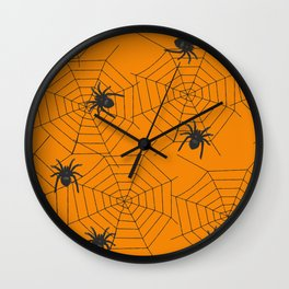 Halloween Spider Illustration Wall Clock