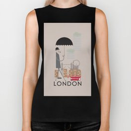 London - In the City - Retro Travel Poster Design Biker Tank