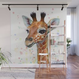 Giraffe Baby Animal Watercolor Whimsical Nursery Animals Wall Mural