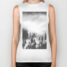 Modern Minimalist Landscape Photo Foggy Mountain Valley Pine Trees Black And White Photo Biker Tank