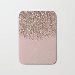 Blush Pink Rose Gold Bronze Cascading Glitter Bath Mat